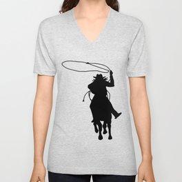 Cowgirl Roper Silhouette Unisex V-Neck