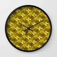 bows Wall Clocks featuring Golden Bows  by Elena Indolfi