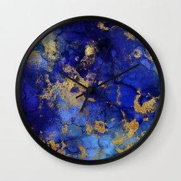 Gold And Blue Indigo Malachite Marble Wall Clock