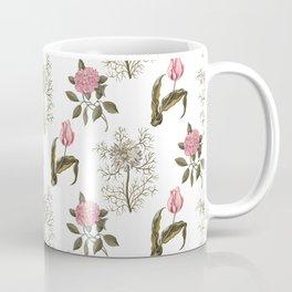 Pink and White Vintage Floral Pattern Coffee Mug