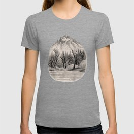 SKAGIT RIVER IN THE NORTH CASCADE CHARCOAL DRAWING T-shirt