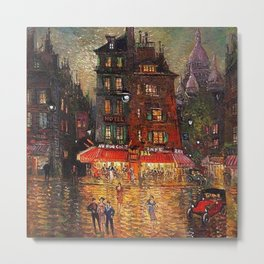 Sacré-Cœur, Montmartre and Paris Cafe City Scene & Lights landscape painting by Konstantin Korovin Metal Print