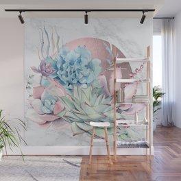 Beautiful Succulents Marble + Rose Gold Sun Wall Mural