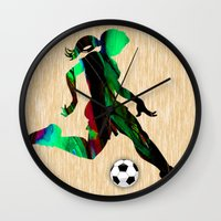 soccer Wall Clocks featuring Soccer by marvinblaine