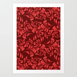 Monochrome Red Garland - Vintage Inspired Holiday Pattern Art Print