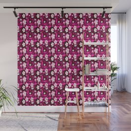 Pink Stylized Floral Wall Mural