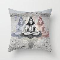 shiva Throw Pillows featuring Shiva by Jonnea Herman