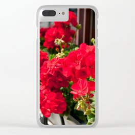 Bunches of vibrant red Pelargonium Clear iPhone Case