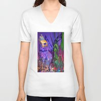 grafitti V-neck T-shirts featuring New York Collage by Bakmann Art