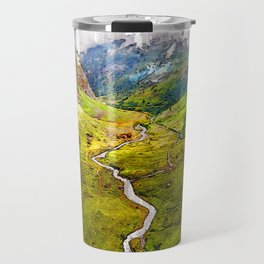 Foggy Aosta River Valley. For Foggy Forests & Mountain Lovers. Travel Mug