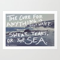 salt water Art Prints featuring Salt Water by Leah Flores
