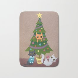 Meowy Christmas Bath Mat