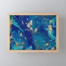 Blue & Gold Liquid Marble Framed Mini Art Print