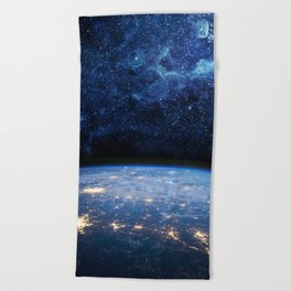 Earth and Galaxy Beach Towel