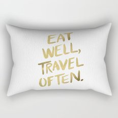 Eat Well Travel Often on Gold Rectangular Pillow