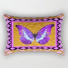 Delicate Shimmering Purple Butterfly Pink-Golden Patterns. Rectangular Pillow