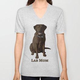 Dog Mom Chocolate Brown Labrador Retriever Unisex V-Neck