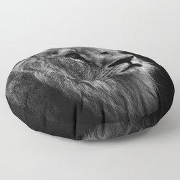 Black Print Lion Floor Pillow