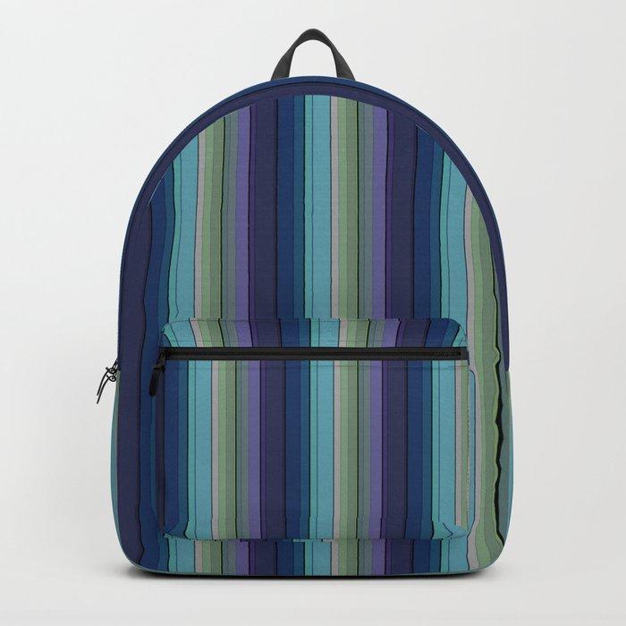Black blue purple pattern striped . Backpack