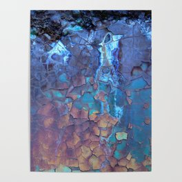 Waterfall. Rustic & crumby paint. Poster