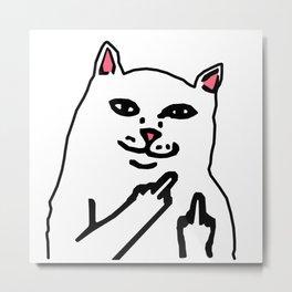 grumpy f**k you cat Metal Print