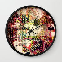 house of cards Wall Clocks featuring Cards by Jean-François Dupuis