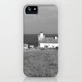 beach front lighthouse medulin croatia istria europe black white iPhone Case