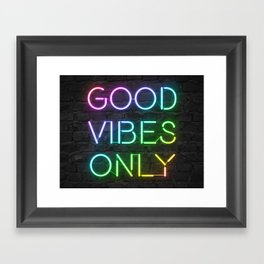 Neon Good Vibes - Rainbow Framed Art Print