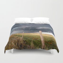 Soft - Storm Along Fence Line in Texas Panhandle Duvet Cover