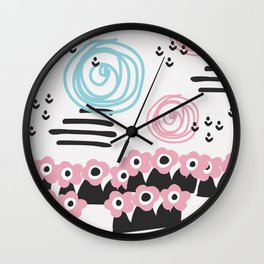 Scandinavian style flowers field Wall Clock