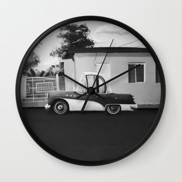 The Cuban Kingpin - Vintage car in the streets of Cuba (black & white) Wall Clock