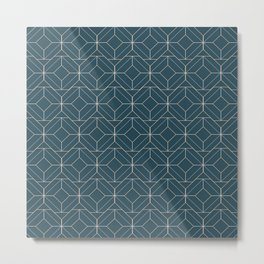 Minimalist Geometric Diamond Shapes in Aqua Metal Print