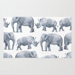 Rhino and elephant Rug