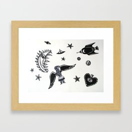 fly me to the moon papercuts Framed Art Print