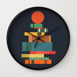 Book stack with a ball Wall Clock
