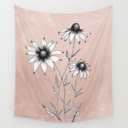 Wildflowers Ink Drawing | Dusty Pink Wall Tapestry