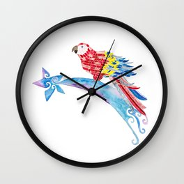 Scarlet macaw making a wish Wall Clock
