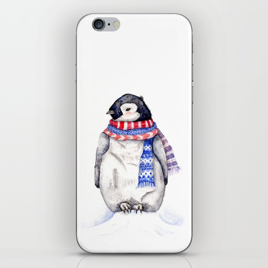 Baby Penguin in Red and Blue Scarf. Winter Season iPhone & iPod Skin