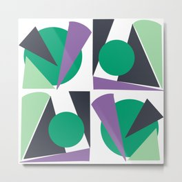Green triangles abstract retro vibe Metal Print