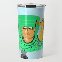 A decorated airplane with a cat and a giraffe Travel Mug