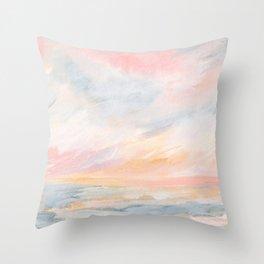 Winter Seascape - Pink Skies Throw Pillow