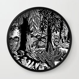 Landscape Art Gifts B & W Forest Art Print Wall Clock