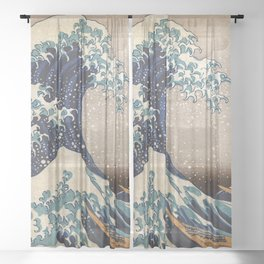 The Great Wave off Kanagawa Sheer Curtain