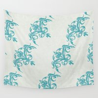 teal Wall Tapestries featuring Teal by Juste Pixx Designs