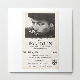 Vintage 1961 Bob Dylan Carnegie Hall Folk Festival Concert Gig Poster Metal Print