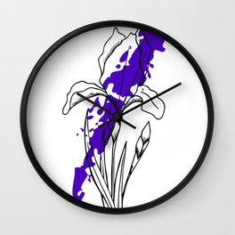 Iris flower contour with colorful splash Wall Clock