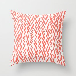 Boho mudcloth herringbone pattern - living coral Throw Pillow