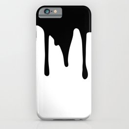 Black paint drips on white background iPhone Case