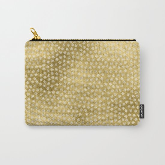 Merry christmas- white winter stars on gold pattern Carry-All Pouch