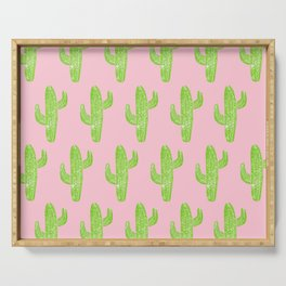 Linocut Cacti Minty Pinky Serving Tray